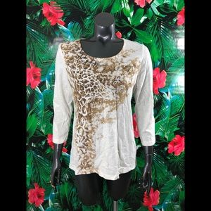 Zenergy Chico's Giraffe Bling Printed Animal Top